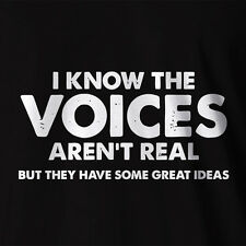 New Funny T-shirt Voices Aren't Real Skitz Crazy Insane Costume Adult Humor Med
