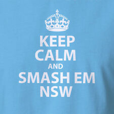 New Keep Calm And Smash Em NSW Origin jersey t-shirt new south wales ball signed