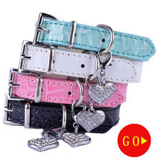 Lot4 Standard Dog Collar With Rhinestones Heart Shaped Tag Leather Dog Necklace