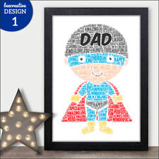 Fathers Day Personalised Gifts DAD Word Art Print Birthday Dad Daddy Grandad