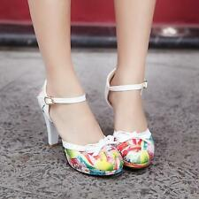 Lovey Womens Lolita Floral Shoes Ankle Strap Pumps Sandals High Heels Plus SZ