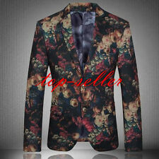 Fashion Mens Lapel Slim Floral Formal Dress Two Buttons Coats Blazers Jackets
