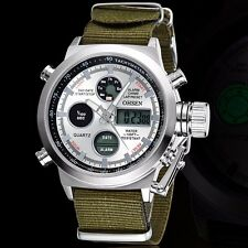 OHSEN Men's Date LED Waterproof Canvas Band Army Sport Quartz Wrist Watch Gift