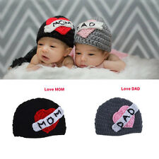 "Newborn Baby Boys Girls Knit Hat Crochet Beanie ""Love MOM DAD"" Photography Props"