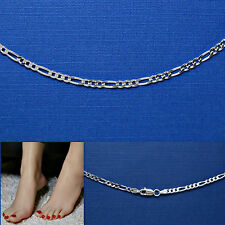 9 or 10 in. FIGARO 080 CHAIN .925 SOLID Sterling Silver Anklet Bracelet