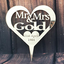 Name Personalised Wedding  Mr & Mrs Heart Cake Topper Keepsake Mirror Acrylic