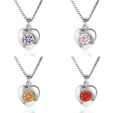 Fashion 925 Sterling Silver Heart Pendant Necklace Chain Jewelry Love Gift