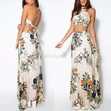 Sexy Halter Backless Crop Top+Summer Women Floral Party Beach Maxi Dress Skirt