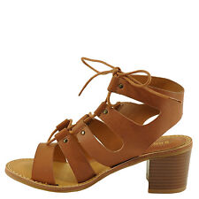 Bamboo Hanson 16V Tan Women's Caged Lace Up Chunky Heel Sandal