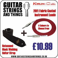 Kirlin 20 Foot Fabric Coated Guitar / Instrument Cable + Rotosound Guitar Strap