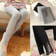 Sexy Women Hollow Out Lace Stretch Skinny Modal Cotton High Waist Leggings Pants