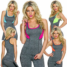 Ladies Functional Top Sports Tank Fitness Shirt 34 36 Melange Leisure Work out