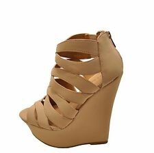 Bamboo Skyline 26M Nude Women's Caged Platform Wedge Sandals