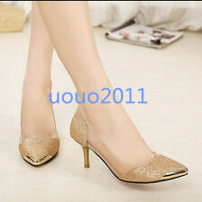Korean New Pump Pointed Toe Stilettos Womens Ladies High Heel Wedding Shoes Size