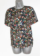ZARA Floral Print Sheer Shoulder Short Sleeves Shirt Vest Top SMALL