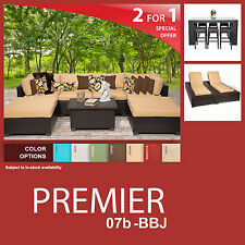 Premier 15 Piece Outdoor Wicker Patio Furniture Package PREMIER-07b-BBJ 2 for 1