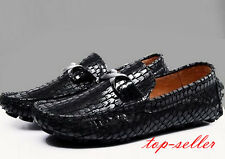 Mens Slip On Loafers snake skin leather Driving casual dress Flats stylish shoes