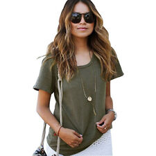 Army Green New Women Basic O-neck T-shirt Summer Ladies Casual Short Sleeve Tees