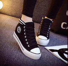 New Korean Women's High-top Lace-up Platform Casual Canvas Sneakers Shoes CK91