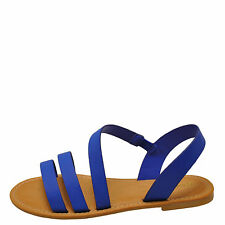 Bamboo Bayside 04S Sapphire Women's Strappy Asymmetrical Flat Sandal