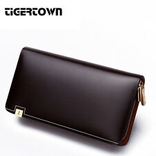 New Men's Genuine Leather Fashion Zipper Large Long Wallet Hand Bag Clutch Purse