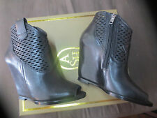 ASH Lucy open toe wedge 10cm leather black NEW Val 225E Point 35 37,38,39,40