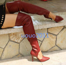 Womens Stylish Cut Out Pointed Toe Stiletto Over Knee High Boots High Heel Shoes