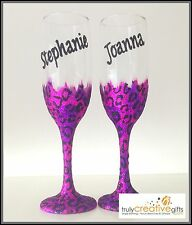 Personalised Large Wine Glass Best Friends Birthday Gift Glitter Leopard Print