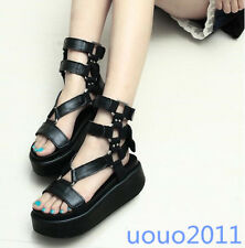 Punk Womens Open Toe Shoes Hollow Out Creeper Ankle Starp Roma Sandals Sz