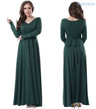 Fashion Women Obese Lady Long Sleeve Bodycon Pleated Long Dress Gown
