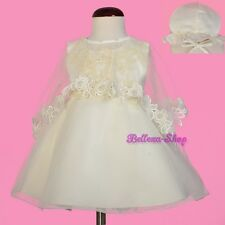 Pearl Ivory Organza Baptism Christening Gown Dress Cape Bonnet Baby 3-12mo CN010