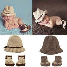 Newborn Photography Props Cute Baby Knit Crochet Hat Shoes Set Baby Accessories