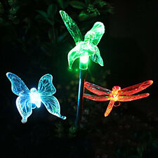 5Pcs/lot Solar Garden Stake Night Light Butterfly LED Lawn lamp for Path Yard