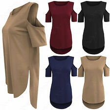 NEW LADIES CUT OUT SLEEVE LONG T SHIRT TOP WOMENS COLD SHOULDER HI LO HEM TUNIC