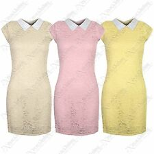 NEW LADIES FLORAL CROCHET LACE PETER PAN COLLAR DRESS WOMENS BODYCON DRESSES TOP