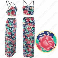 NEW LADIES FLORAL PRINT SUIT WOMENS STRAPPY BRA TOP MAXI SKIRTS LONG LOOK VESTS