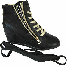 Black High Top Fashion Top Sneaker Lack Up Mid Heel Hidden Ankle Wedge Bottie