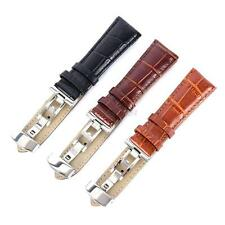 Durable Genuine Leather Stainless Steel Butterfly Clasp Buckle Watch Bands Strap