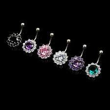 Flower Steel Zircon Crystal Navel Belly Ring Button Bar Body Piercing Jewelry CN