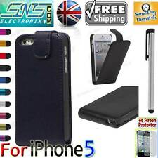 Flip Magnetic Leather New Case Cover For Apple iPhone 5 + Screen Protector