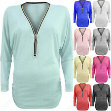 NEW WOMENS MARL KNIT TOP ZIP NECK LADIES BATWING LONG SLEEVE JUMPER RUCHED LOOK