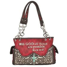 Western Concealed Carry Cowgirl Bible Verse Cross Printed Handbag, 5 Colors