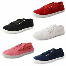 Ladies Womens Flat Girls Plimsolls Pumps Plimsoles Lace Up Canvas Shoes Trainers