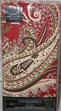 Cynthia Rowley Holiday Red Paisley Floral Fabric Napkins Tablecloths