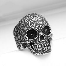 MEN's Gothic Flower Skull 316L Stainless Steel Biker Ring