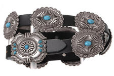 NEW! Western Black Leather Belt Turquoise Silver Oval Conchos Size 32-40