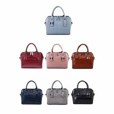 Elegant Crocodile Grain Leather Handbag Women Weekend Shopping Tote Shoulder Bag