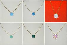 14kt Gold Filled Chain Necklace with Opal Gemstone Star of David Charm Pendant