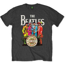 The Beatles Charcoal Grey Mens T Shirt Sgt Peppers Lonely Hearts Band Official