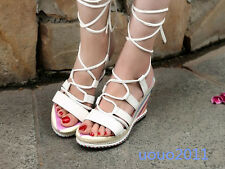 Stylish Cross Strappy Lace Up Wedge Heel Platform Roma Womens Sandals Shoes Sz
